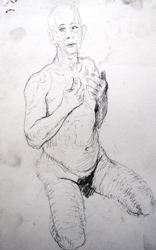 Kneeling Figure, Pencil on Paper