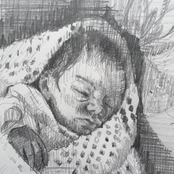 'Emily1994' pencil on paper 10cmx10cm 2020